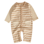 2 Pocket Jumpsuit ( S-7m Brown Stripe)