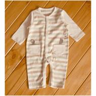 2 Pocket Jumpsuit ( S-Beige Olive Brown)