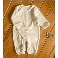Side Buttons Terry Jumpsuit ( Cream Beige)