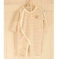 Side Button Jumpsuit  ( Y-Brown Stripe)