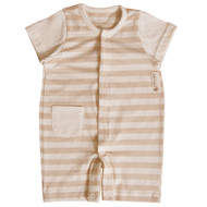 Pocket Shortsleeve Jumpsuit (S-7m Brown Stripe)