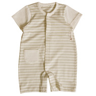 Pocket Shortsleeve Jumpsuit( Olive Stripe)