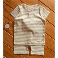 Button Short Sleeve Top / Pants ( Olive Stripe )