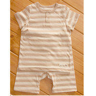 Button Short Sleeve Top / Pants ( S-7m Brown Stripe)