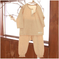 2 Buttons Top / Pants ( Milky  Brown)