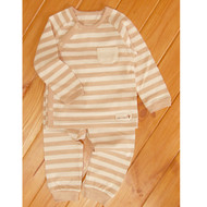 Side Button Pocket Top / Pants ( S-7m Brown Stripe)