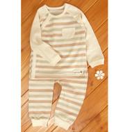 Side Button Pocket Top / Pants ( S-Beige Olive Brown)