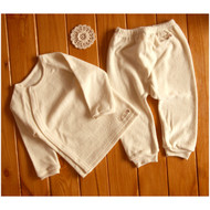 Side Button Pocket Top / Pants ( Cream Beige Terry)