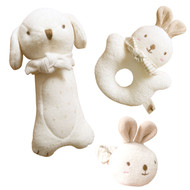 Puppy & Baby Rabbit Rattle Set (set of 3)  ❤ JOHN N TREE Organic No Dyeing Organic Cotton Baby First Friend