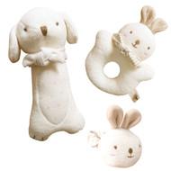Puppy & Baby Rabbit Rattle Set (set of 3)