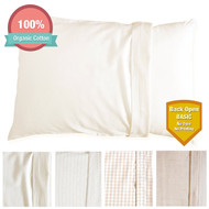 Organic Cotton Toddler Pillowcase for 13 *18 Pillow (Natural Basic - Back Open)