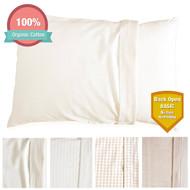 Organic Cotton Toddler Pillowcase for 13 *18 Pillow (Natural Basic - Back Open)