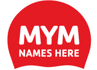 Set of Red Latex Team Caps with swimmer names- MYM (set of 2)
