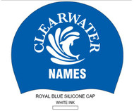 Set of Two Team Caps With Swimmer Name- Clearwater