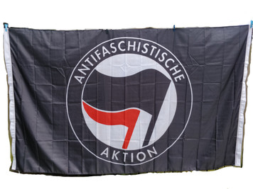 Giant 8 feet x 5 feet BLACK ANTIFA flag