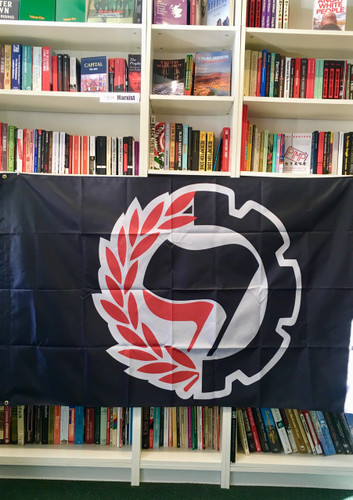 ANTIFA Cog and Wreath - double sided - black Flag - 5 x 3ft