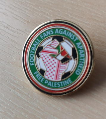 Football Fans Against Apartheid Free Palestine enamel Badge