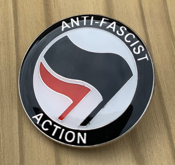 Anti Fascist Action anarchist enamel badge