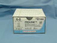 """Ethicon 8718H Prolene Suture, 6-0, 18"""", C-1 Taperpoint Needle, Double Armed"""