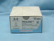 """Ethicon 8726H Prolene Suture, 6-0, 30"""", C-1 Taperpoint Needle, Double Armed"""