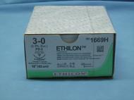 "Ethicon 1669H, Ethilon Suture, 3-0, 18"", Nylon, PS-2 Reverse Cutting Needle"