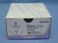 """Ethicon VCP764D Vicryl Plus Suture, 0, 18"""", Antibacterial, CTX Taper Needle"""
