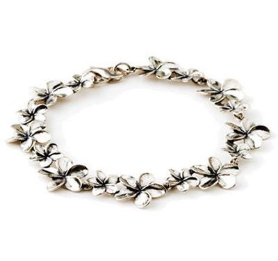 Sterling Silver Plumeria Bracelet
