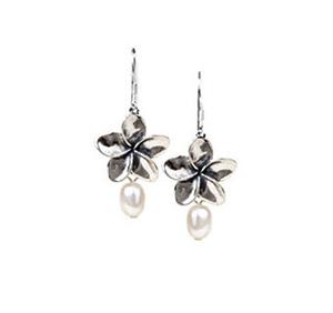 Plumeria Earrings with Fresh Water Pearls
