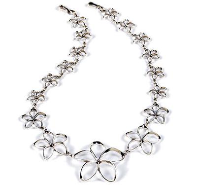 Sterling Silver Pua Melia Plumeria Necklace