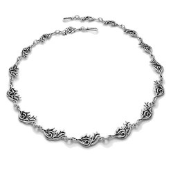 Silver Hawaiian Hibiscus Two Flower Bud Necklace