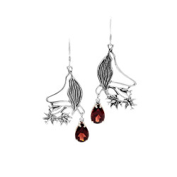 Hawaiian Hibiscus Silver Earrings with Gemstone