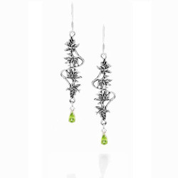Silver Hawaiian Hibiscus Earrings with Gemstones