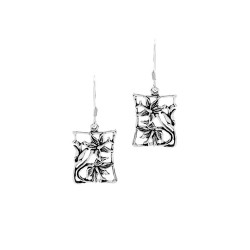 Silver Hibiscus Flower Framed Earrings
