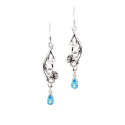 Sterling Silver Lily Earrings with 1 Carat Gemstones