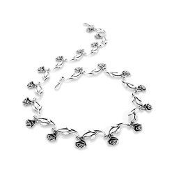 Art Nouveau Silver Rose Necklace | Single Rose Design