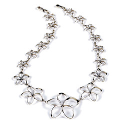 Plumeria Pua Melia Necklace with Graduated Plumeria Flowers