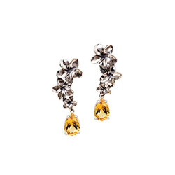 Silver Plumeria Earrings | Three Flowers with 3 Carat Gemstones