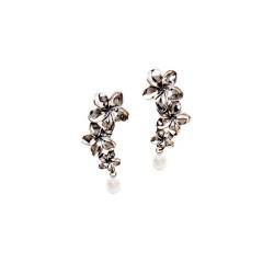 Silver Plumeria Post Earrings | Three Flowers with Pearls