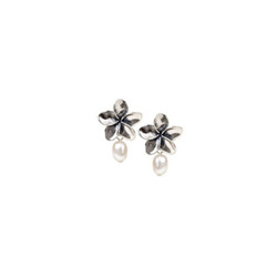 Silver Plumeria Post Earrings with Pearls