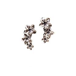 Silver Plumeria Three Flower Earrings