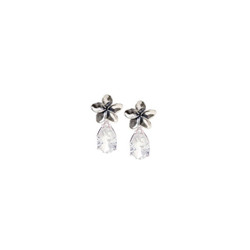 Small Silver Plumeria Earrings with 3 Carat Gemstones