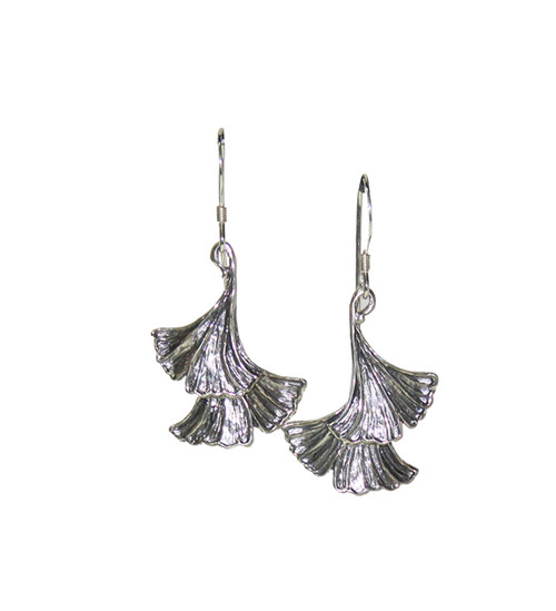 Ginkgo two Leaf Earrings