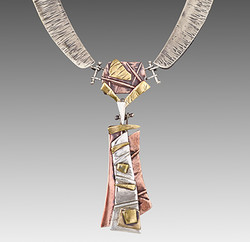 Mixed Meltal Necklace Gold, Silver and Copper