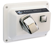 Recessed - Push Button - White Epoxy Painted - Hand & Hair Dryer (R76-W)