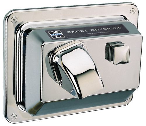 Recessed - Push Button - Chrome Plated - Hand & Hair Dryer (R76-C)