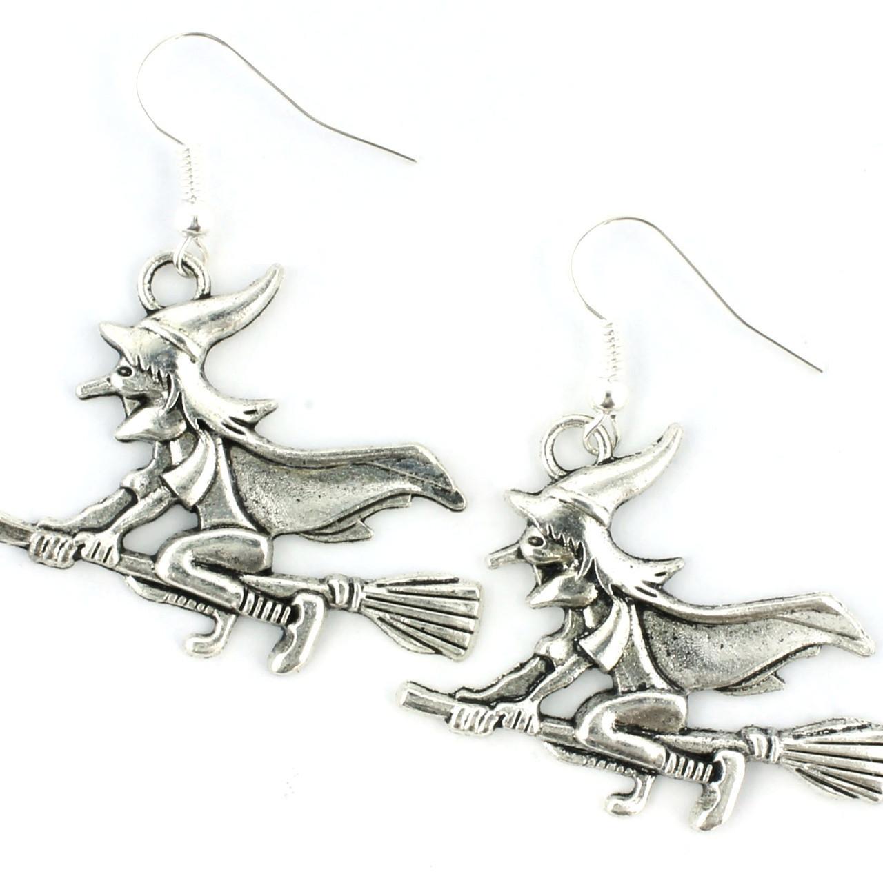 Funky Flying Witch Earrings