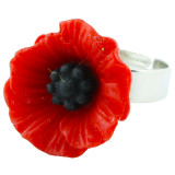 Funky Vintage Red Poppy Ring