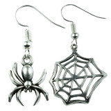 SILVER SPIDER & WEB Dangle Earrings