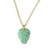 TROPICAL PALM LEAF Pendant Necklace