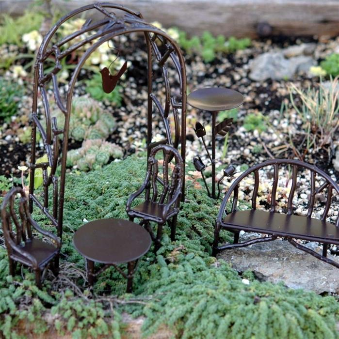 wildewood fairy garden bench and set